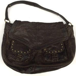 Frye Dark Brown Leather Studded Handbag Purse